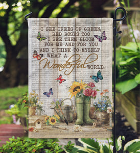 Pallet Garden Wonderful World Gardening Butterfly Garden Flag