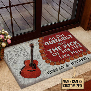 Personalized Acoustic Old Couple Live Here Customized Doormat