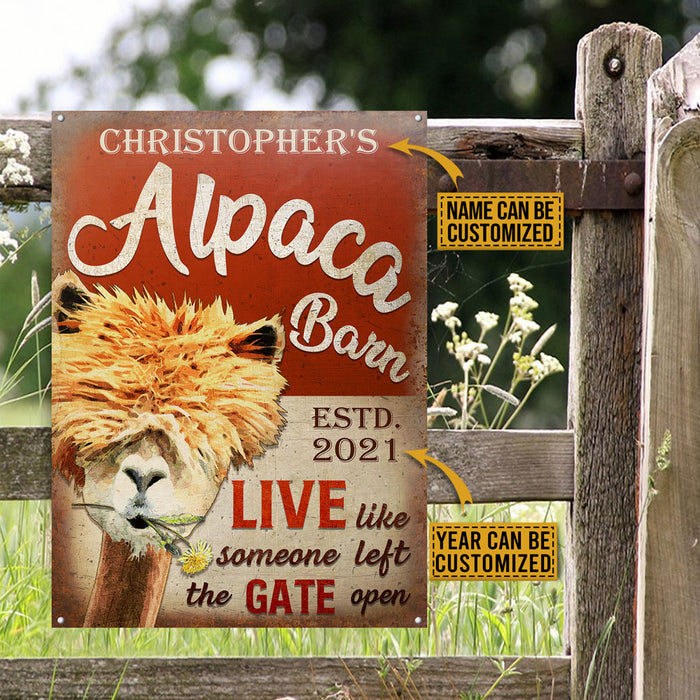 Personalized Alpaca Barn The Gate Open Customized Classic Metal Signs