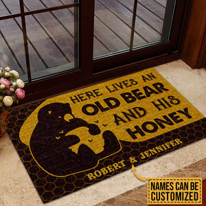 Personalized Bear And Honey Here Lives Customized Doormat