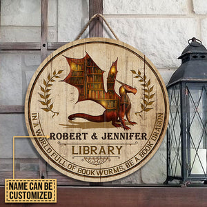 Personalized Book Dragon Library Customized Wood Circle Sign