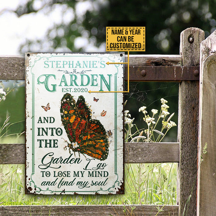 Personalized Butterfly Garden And Into Customized Classic Metal Signs