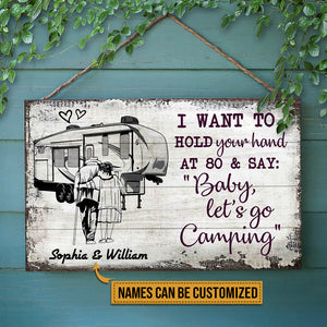 Personalized Camping Sketch 5th Wheel Hold Your Hand Customized Wood Rectangle Sign