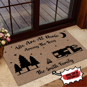 Personalized Doormat Camping We Are At Home Among The Trees