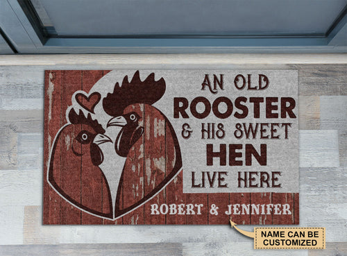 Personalized Chicken Couple Rooster And Hen Live Here Customized Doormat