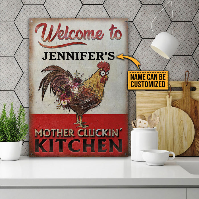 Personalized Chicken Mother Cluckin' Kitchen Customized Classic Metal Signs