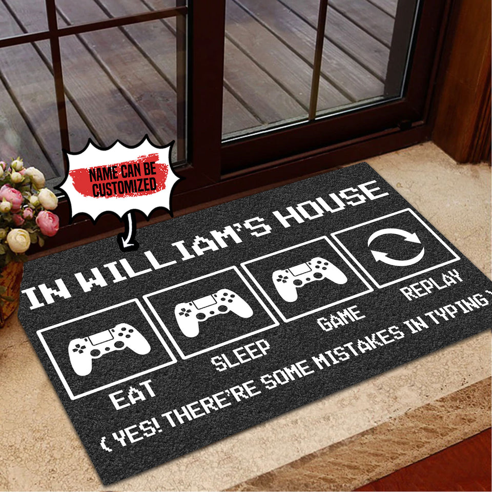 Personalized Doormat Console Eat Sleep Game