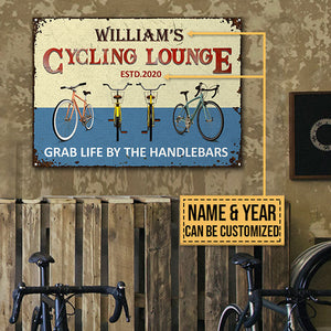 Personalized Cycling Lounge Grab Life Customized Classic Metal Signs