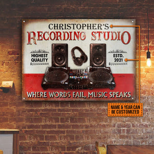 Personalized DJ Board Where Words Fail Music Speaks Customized Classic Metal Signs