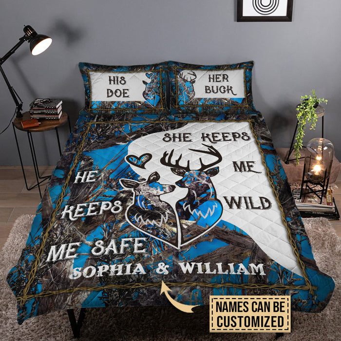 Personalized Deer Blue Camo Safe Wild Customized Quilt Bedding