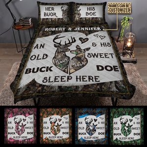 Personalized Deer Color Couple Camo Sleep Here Customized Quilt Bedding