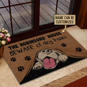 Personalized Dog Beware Of Kisses Customized Doormat
