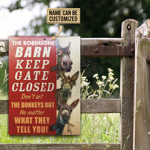 Personalized Donkey Barn Keep Gate Closed Customized Classic Metal Signs