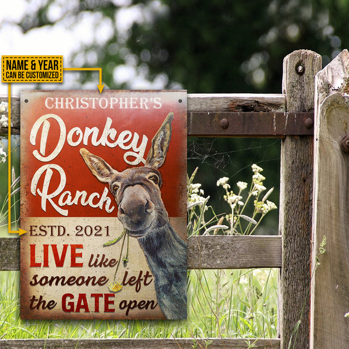 Personalized Donkey Ranch Live Like Gate Open Customized Classic Metal Signs
