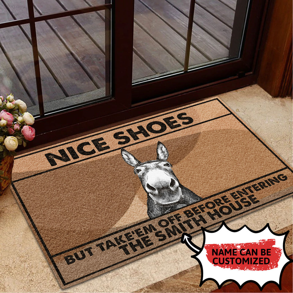 Personalized Doormat Donkey Nice Shoes