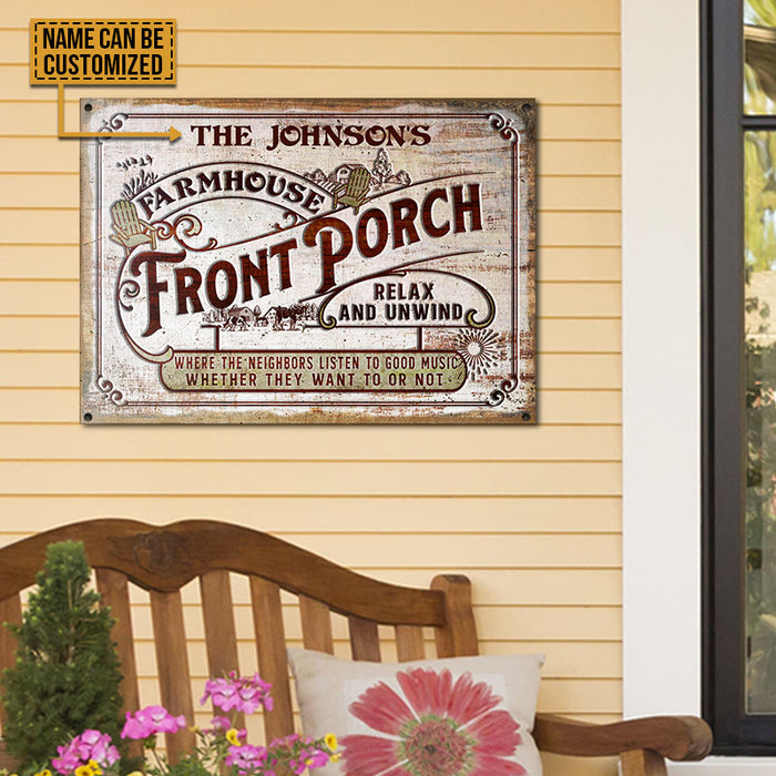 Personalized Farmhouse Porch Good Music Customized Classic Metal Signs