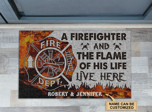 Personalized Firefighter Flame Live Here Doormat