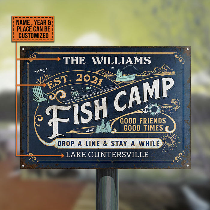 Personalized Fish Camp Drop A Line Customized Classic Metal Signs
