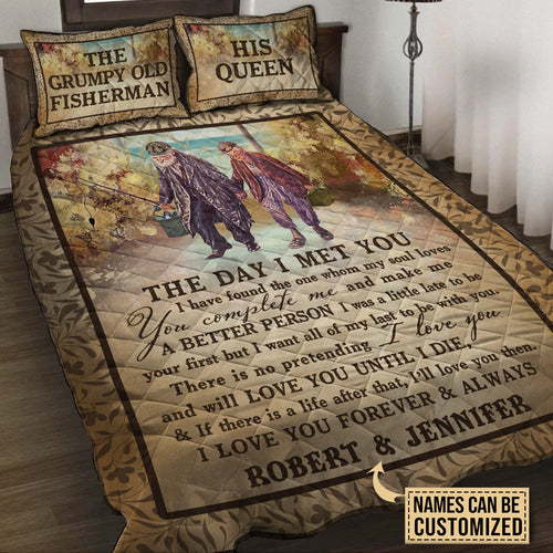 Personalized Fishing The Day I Met You Customized Quilt Bedding