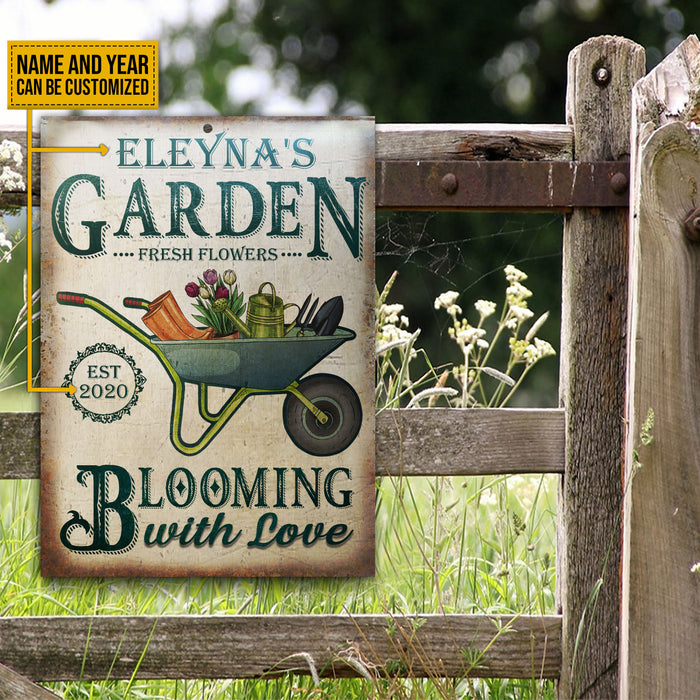 Personalized Garden Fresh Flower Blooming With Love Customized Classic Metal Signs