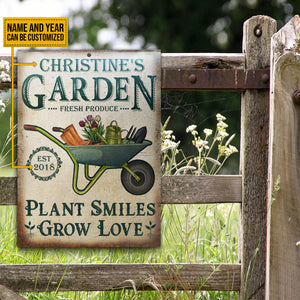 Personalized Garden Plant Smiles Grow Customized Classic Metal Signs