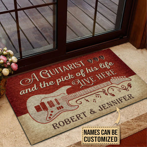 Personalized Guitar Red Old Couple Live Here Customized Doormat