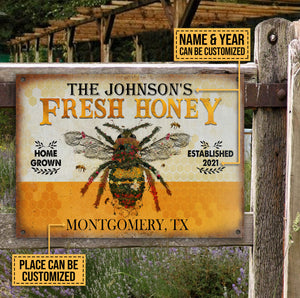 Personalized Honey Bee Fresh Customized Classic Metal Signs