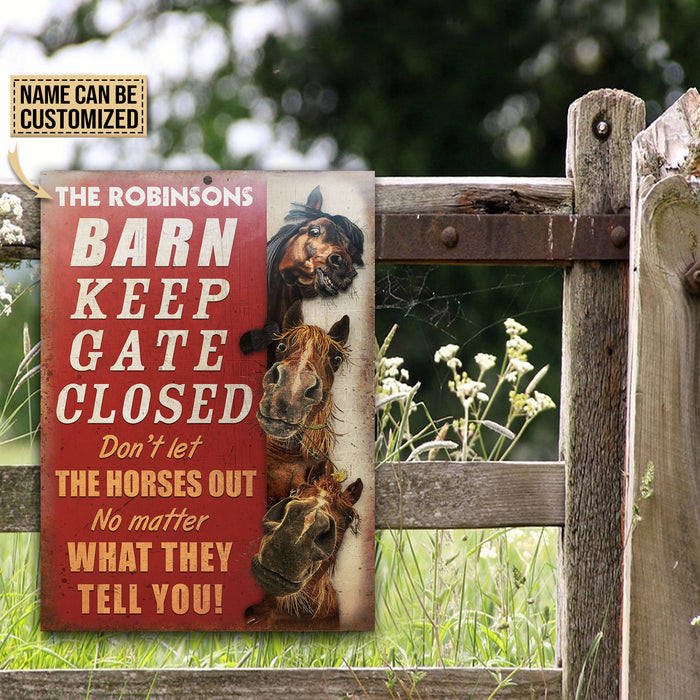 Personalized Horse Barn Keep Gate Closed Customized Classic Metal Signs