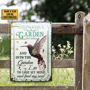 Personalized Hummingbird Garden And Into Customized Classic Metal Signs
