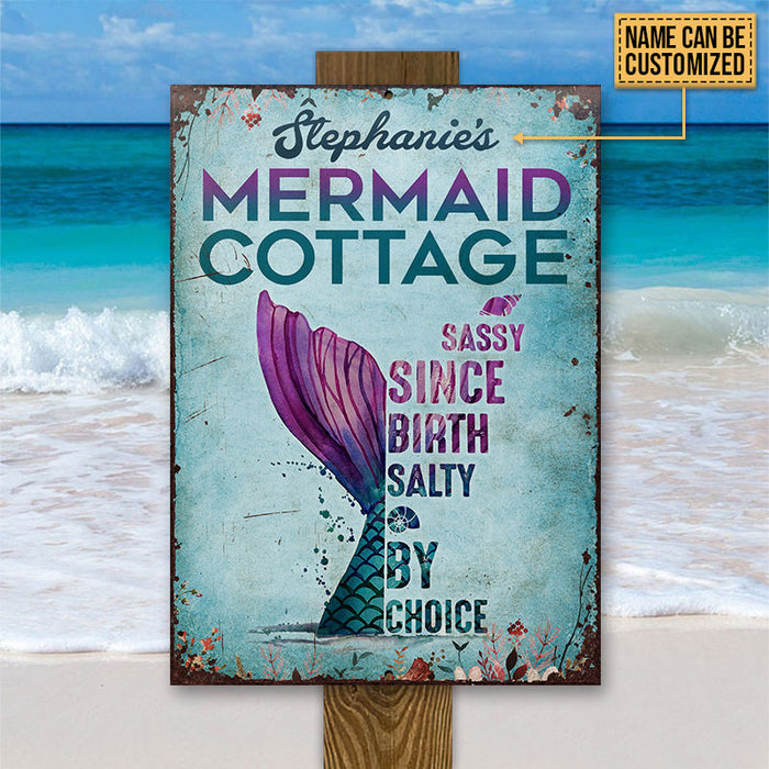 Personalized Mermaid Cottage Customized Classic Metal Signs