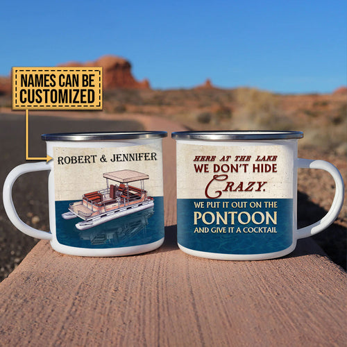 Personalized Pontoon Here At The Lake Customized Campfire Mug