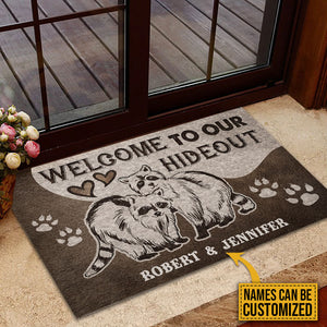 Personalized Raccoon Couple Hideout Customized Doormat
