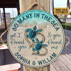 Personalized Sea Turtle Found Customized Wood Circle Sign