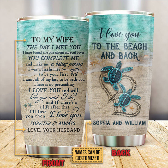 Personalized Sea Turtle The Day I Met You Customized Tumbler