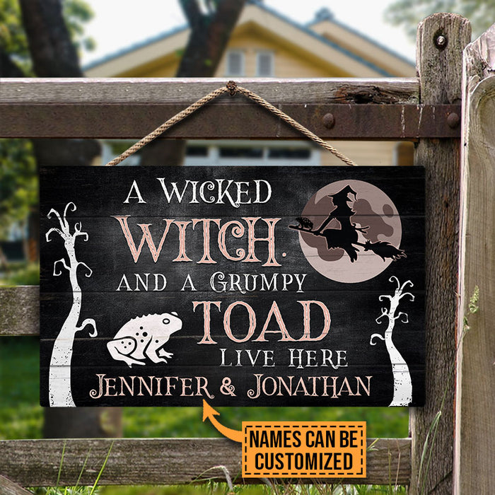 Personalized Witch Wicked Witch Live Here Customized Wood Rectangle Sign