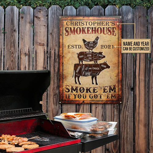 Personalized BBQ Grilling Smoke House Customized Classic Metal Signs