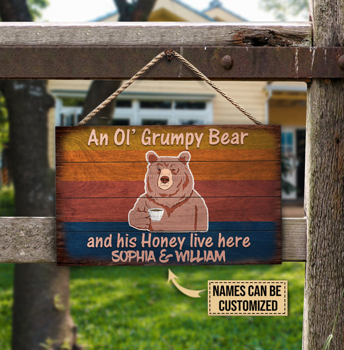 Personalized Bear Live Here Customized Wood Rectangle Sign