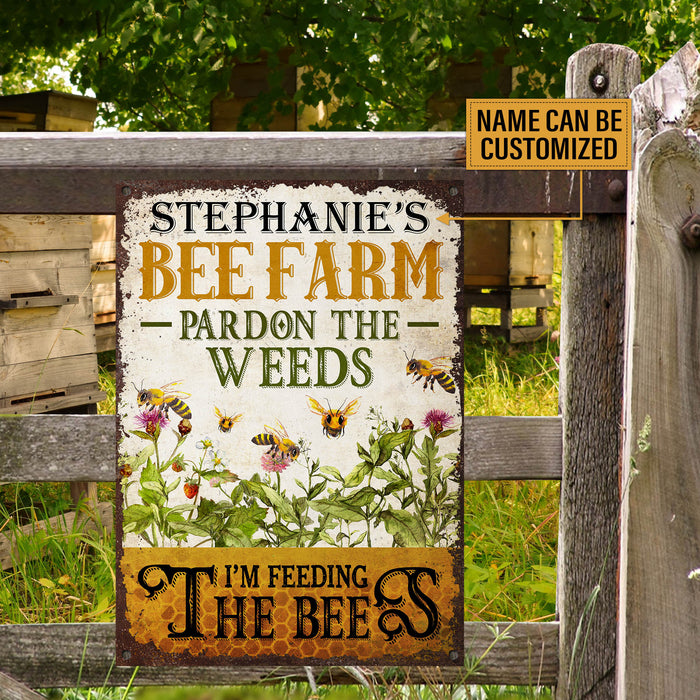 Personalized Bee Farm Feeding The Bee Customized Classic Metal Signs
