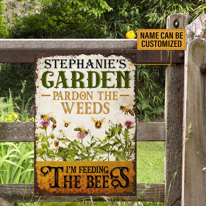 Personalized Bee Garden Pardon The Weeds Customized Classic Metal Signs