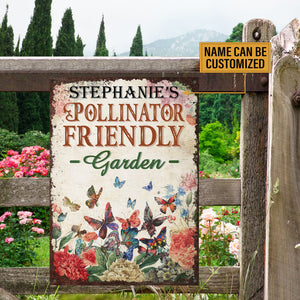 Personalized Butterfly Garden Pollinator Friendly Customized Classic Metal Signs