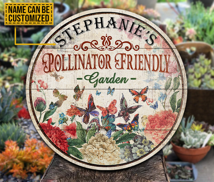 Personalized Butterfly Garden Pollinator Friendly  Customized Wood Circle Sign