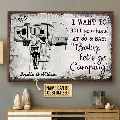 Personalized Camping Sketch Fifth Wheel Hold Your Hand Customized Poster