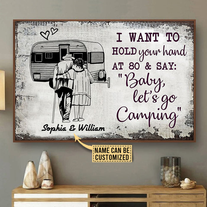 Personalized Camping Sketch Hold Your Hand Customized Poster