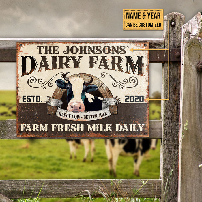 Personalized Cattle Dairy Farm Fresh Milk Customized Classic Metal Signs