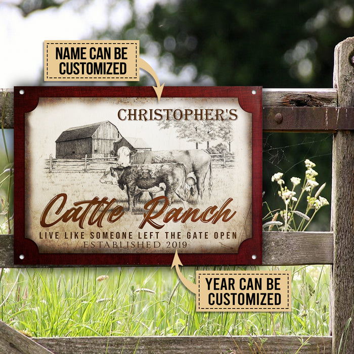 Personalized Cattle Ranch Gate Open Customized Classic Metal Signs