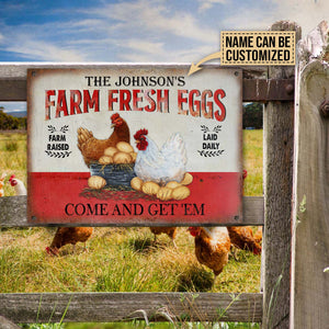 Personalized Chicken Farm Raised Laid Daily Customized Classic Metal Signs