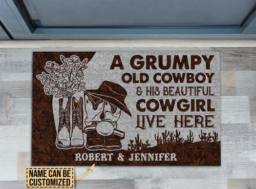 Personalized Cowboy And Cowgirl Live Here Leather Customized Doormat