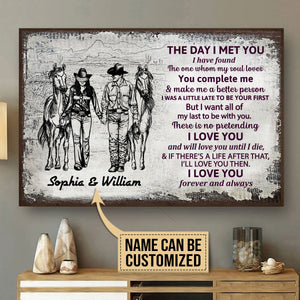 Personalized Cowboy Couple The Day I Met Sketch Customized Poster