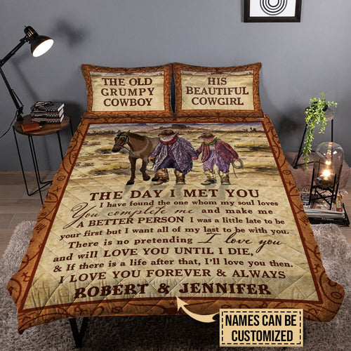Personalized Cowboy The Day I Met You Customized Quilt Bedding