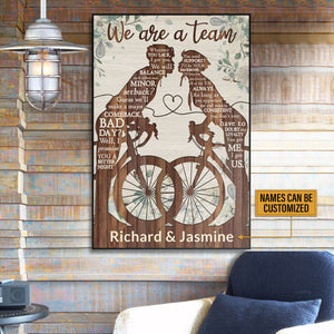 Personalized Cycling Couple We're A Team Customized Poster